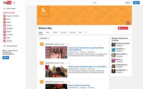 Screenshot of YouTube Page youtube.com - Barbara May  - YouTube - captured Oct. 23, 2014