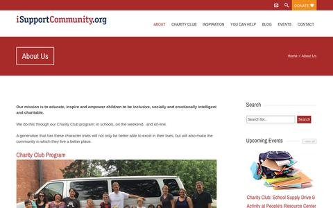 Screenshot of About Page isupportcommunity.org - About Us - I Support Community - captured July 20, 2016