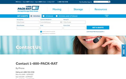 Screenshot of Contact Page 1800packrat.com - Contact Us for Portable Storage and Moving | 1-800-PACK-RAT - captured Oct. 31, 2019