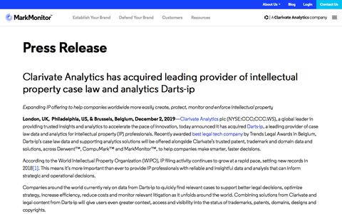 Screenshot of Case Studies Page markmonitor.com - Clarivate Analytics has acquired leading provider of intellectual property case law and analytics Darts-ip - MarkMonitor - captured Jan. 13, 2020