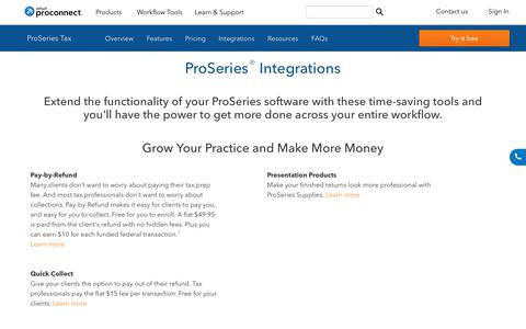 Screenshot of intuit.com - ProSeries Add-Ons: Tax Tools for Professional Tax Preparers - captured April 24, 2018