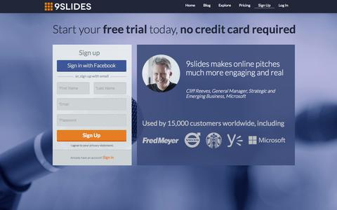 Screenshot of Signup Page Trial Page 9slides.com - Sign Up | 9slides Online Training Software - captured Oct. 22, 2014
