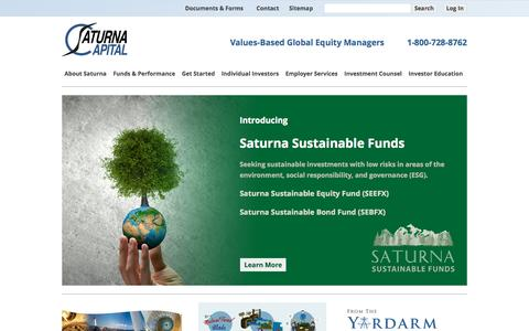 Screenshot of Home Page saturna.com - Mutual Funds, IRAs, 401(k)s, Investment Management, and more! | Saturna Capital - captured Oct. 7, 2015
