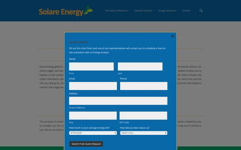 Screenshot of Privacy Page solareenergy.com - Privacy Policy - captured Feb. 15, 2016