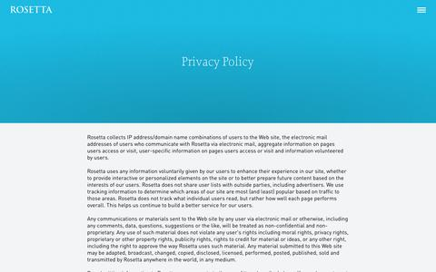 Screenshot of Privacy Page rosetta.com - Privacy Policy | Rosetta - captured Oct. 29, 2014