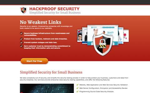 Screenshot of Home Page hackproof.com - Home - Hackproof.com - captured Jan. 23, 2015