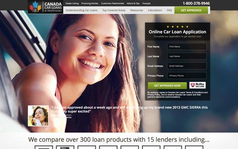 Screenshot of Home Page canadacarloans.com - Canada Car Loans | Bad and No Credit | Auto Financing - captured Dec. 6, 2015