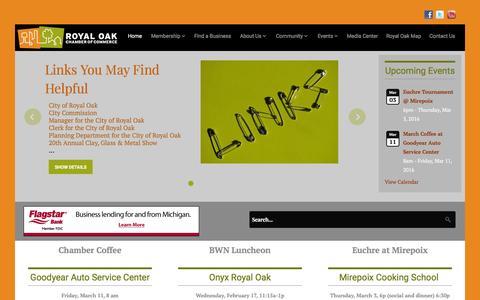 Screenshot of Home Page royaloakchamber.com - Royal Oak Chamber of Commerce - Royal Oak Chamber of Commerce - captured Feb. 18, 2016