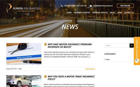 Screenshot of Press Page powerinsurances.ie - News - Power Insurances - captured May 20, 2017