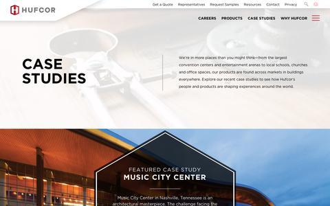 Screenshot of Case Studies Page hufcor.com - Case Studies | Hufcor - captured July 5, 2017