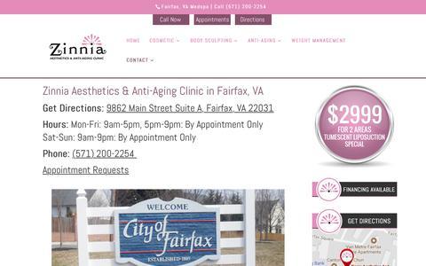 Screenshot of Contact Page Maps & Directions Page zinniaaesthetics.com - Zinnia Aesthetics & Anti-Aging Clinic in Fairfax, VA - captured Oct. 19, 2018