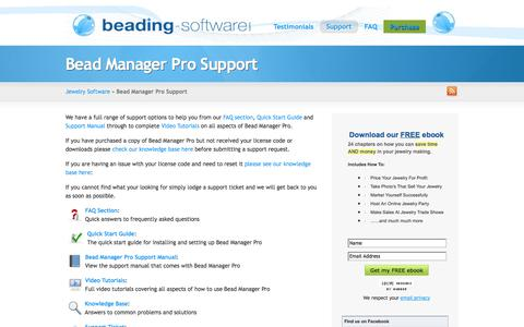 Screenshot of Support Page beading-software.com - Bead Manager Pro Support | Jewelry Software - captured Oct. 5, 2014