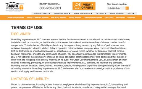 Screenshot of Terms Page stanekwindows.com - Terms of Use   Stanek Windows - Affordable Vinyl Windows - captured Oct. 27, 2017