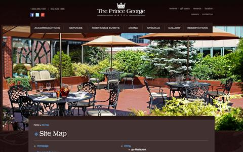 Screenshot of Site Map Page princegeorgehotel.com - The Prince George Hotel - Site Map - captured Oct. 3, 2014