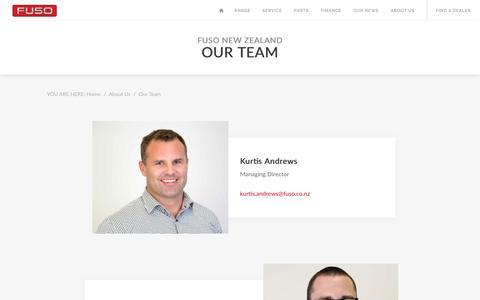 Screenshot of Team Page fuso.co.nz - The Fuso NZ Team | Fuso © NZ - captured Nov. 28, 2017