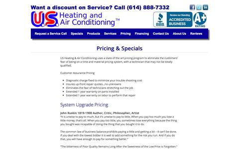 Screenshot of Pricing Page usheating.com - Pricing & Specials | US Heating and Air Conditioning - captured Nov. 19, 2016