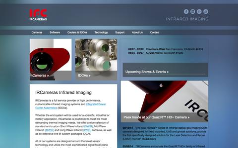 Screenshot of Home Page ircameras.com - Thermographic Camera, SWIR, LWIR, IR, InGaAs | IRCameras Infrared Imaging - captured Jan. 27, 2015