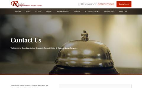 Screenshot of Contact Page riversideresort.com - guest assistance, information, directions, hotel information, help, - captured Oct. 31, 2018
