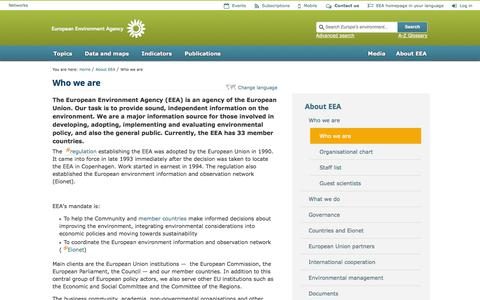 Screenshot of About Page europa.eu - Who we are   —    European Environment Agency (EEA) - captured Sept. 19, 2014