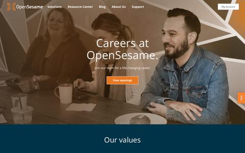 Screenshot of Jobs Page opensesame.com - Careers - OpenSesame - captured Feb. 5, 2019