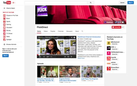 Screenshot of YouTube Page youtube.com - FlickDirect  - YouTube - captured Oct. 23, 2014