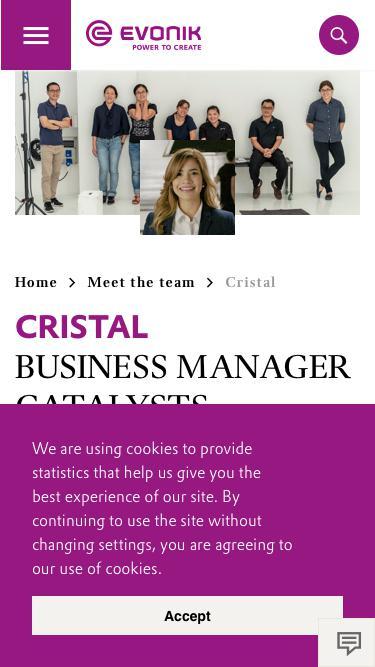 Screenshot of Team Page  evonik.com - Cristal                                                                - Evonik Careers