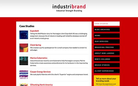 Screenshot of Case Studies Page industribrand.com - Case Studies   Industribrand - captured Sept. 30, 2014