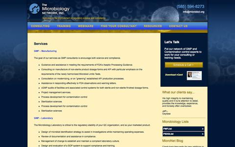 Screenshot of Services Page microbiologynetwork.com - Microbiology Network - Consulting Services   The Microbiology Network: Dedicated to the improvement of regulatory science and compliance - captured Oct. 27, 2014