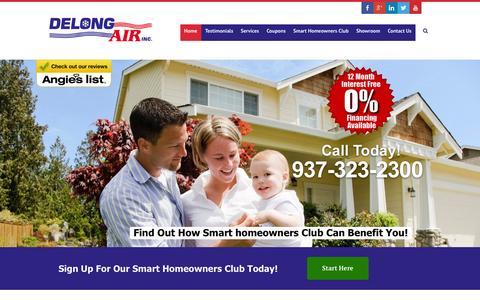 Screenshot of Home Page delongair.com - Home Delong Air - captured Oct. 5, 2014