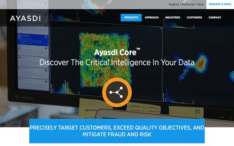 Screenshot of Products Page ayasdi.com - Ayasdi Core™ Discover The Critical Intelligence In Your Data - Ayasdi - captured Oct. 28, 2014