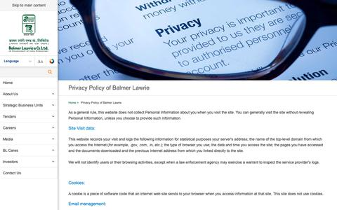 Screenshot of Privacy Page balmerlawrie.com - Privacy Policy of Balmer Lawrie - captured Oct. 2, 2018