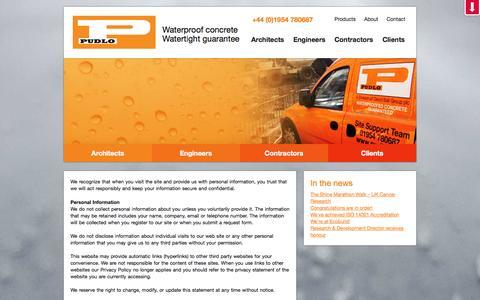 Screenshot of Terms Page pudlo.com - Terms & Conditions | Pudlo Concrete - captured Oct. 1, 2014
