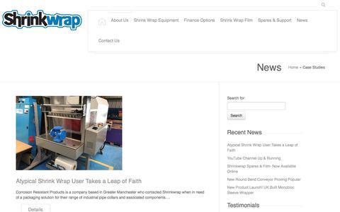 Screenshot of Case Studies Page shrinkwrap.co.uk - Case Studies Archives - Shrinkwrap - captured Oct. 4, 2017