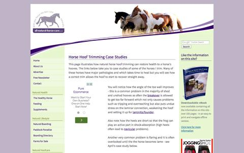 Screenshot of Case Studies Page all-natural-horse-care.com - Horse Hoof Trimming - Hoof Photos - captured Sept. 30, 2014