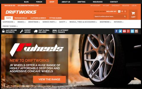 Screenshot of Home Page driftworks.com - Driftworks, Drift performance parts direct to your door - captured Jan. 28, 2016