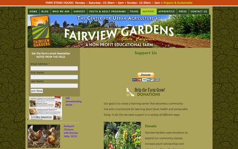 Screenshot of Support Page fairviewgardens.org - Support Fairview Gardens with your generous donation - captured Oct. 4, 2014