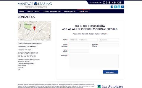 Screenshot of Contact Page vantage-leasing.com - Range Rover Evoque Leasing - captured Oct. 7, 2014