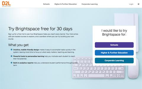 Screenshot of Trial Page d2l.com - LMS Free Trial for 30 Days | Give Brightspace a Try | D2L  Europe - captured Jan. 11, 2020