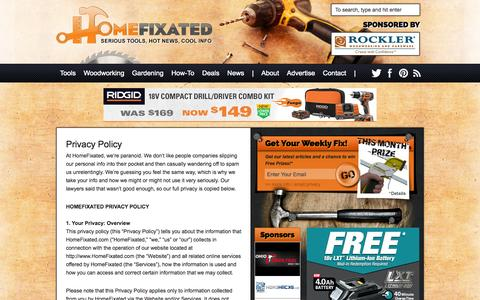 Screenshot of Privacy Page homefixated.com - Privacy Policy - Home Fixated - captured Sept. 19, 2014