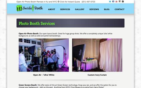 Screenshot of Services Page insideoutbooth.com - NJ NYC Photo Booth Rental Services - Open Air Photo Booths, Step Repeats, Green Screens, Instagram printing - captured Oct. 29, 2014