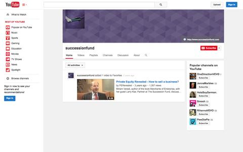 Screenshot of YouTube Page youtube.com - successionfund  - YouTube - captured Oct. 25, 2014