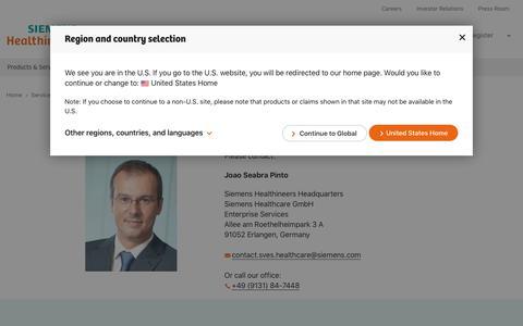Screenshot of Services Page siemens-healthineers.com - Enterprise Services Contact - Siemens Healthineers Global - captured Jan. 14, 2020