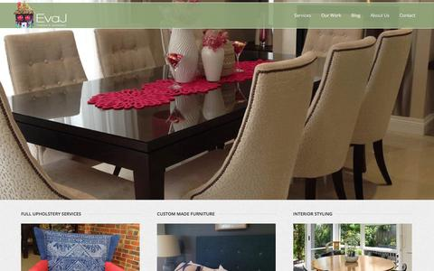 Screenshot of Home Page evaj.com.au - Eva J: Interiors & Upholstery Services Melbourne - captured Jan. 31, 2016