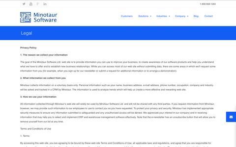 Screenshot of Terms Page minotaursoftware.com - Legal | Minotaur Software - captured Oct. 7, 2014