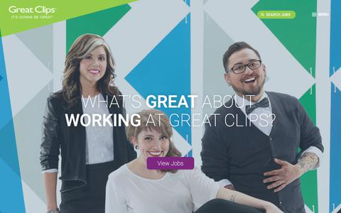 Screenshot of Jobs Page greatclips.com - Join our Team - captured July 23, 2018