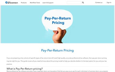 Screenshot of intuit.com - Pay-Per-Return Pricing | Intuit ProConnect - captured April 24, 2018