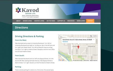 Screenshot of Maps & Directions Page kavodseniorlife.org - Kavod Senior Life   –  Directions - captured Jan. 9, 2016