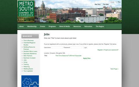 Screenshot of Jobs Page metrosouthchamber.com - Jobs - captured Oct. 18, 2017