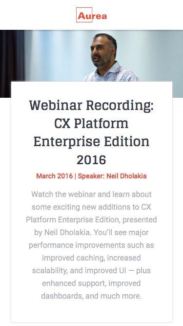 CX Platforms EE Webinar Recording - March 2016 | Aurea