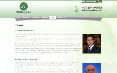 Screenshot of Team Page mteqpakistan.com - Mteq Pakistan (Pvt) Ltd | Mining Technology - captured Oct. 26, 2014